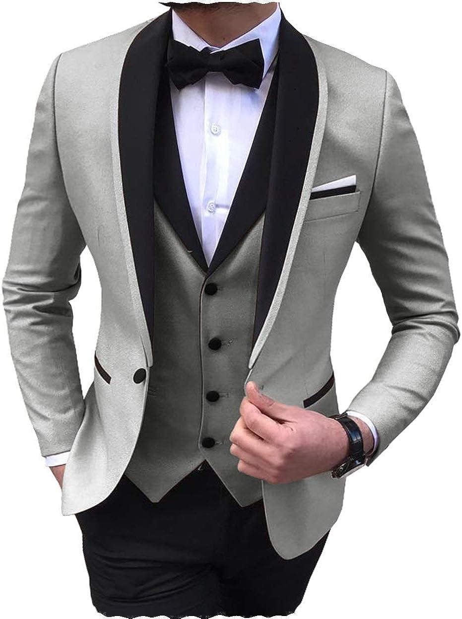 Aesido Men's 3 Pieces Slim Fit Shawl Lapel Solid Prom Tuxedos Wedding Grooms (Blazer+Vest+Pants)