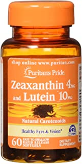 Puritans Pride Zeaxanthin 4mg with Lutein 10mg Softgels, 60 Count