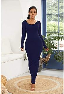 FDBZ Spring Autumn Women Long Sleeve O Neck Solid Slim Long Dress Casual Simple High Stretchy Package Hip Maxi Dress|Dresses,YD1113 Deep Blue,4XL