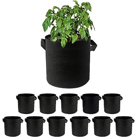 Supzone 12個セット 1ガロ 不織布 フェルトプランター 栽培バッグ 庭のDIY阳台野菜と果物のために 大容量 植え袋 植木鉢 ガーデニング 野菜栽培 植物育成 通気性、浸透性が良い 直径18 * 15高