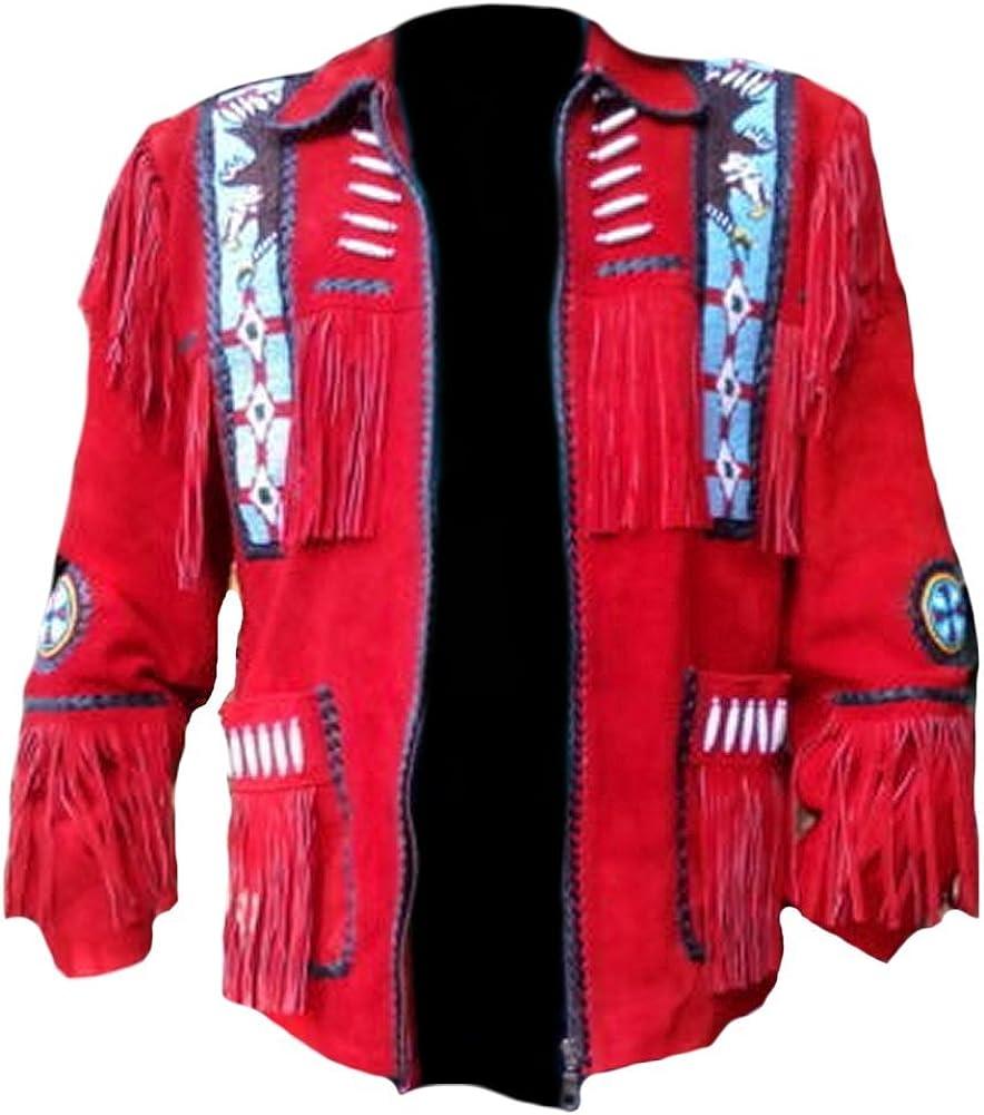 Classyak Men's Western Cowboy Red Eagle Beading Jacket