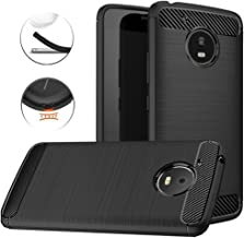 Moto E4 Plus Case, Dretal Carbon Fiber Shock Resistant Brushed Texture Soft TPU Phone case Anti-Fingerprint Flexible Full-Body Protective Cover for Motorola Moto E4 Plus USA Version (Black)