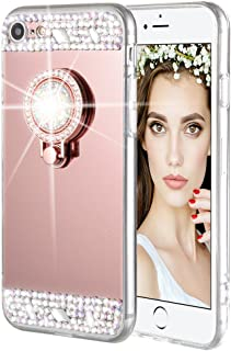 iPhone 7 8 Case, Caka iPhone 7 Glitter Case Rhinestone Series Luxury Cute Shiny Bling Mirror Makeup Case for Girls with Ring Kickstand Diamond TPU Case for iPhone 7 8 (Rose Gold)