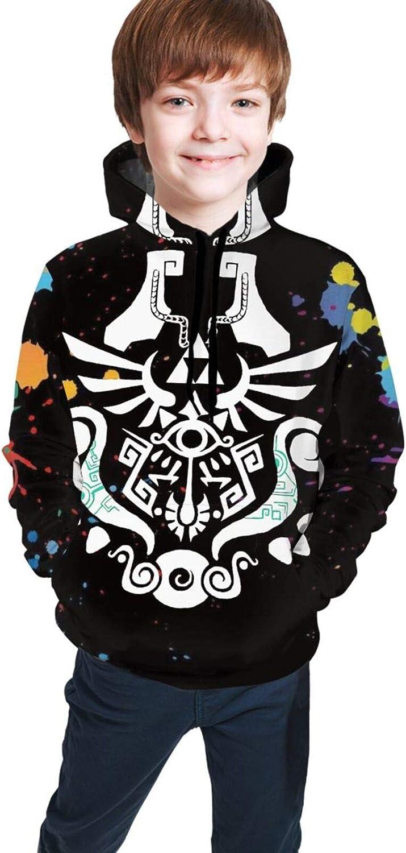 ETFDCDFEW Legend of Zelda Youth Boys Girls 3D Print Pullover Hoodies Hooded Seatshirts Sweaters 14-16 Years Black