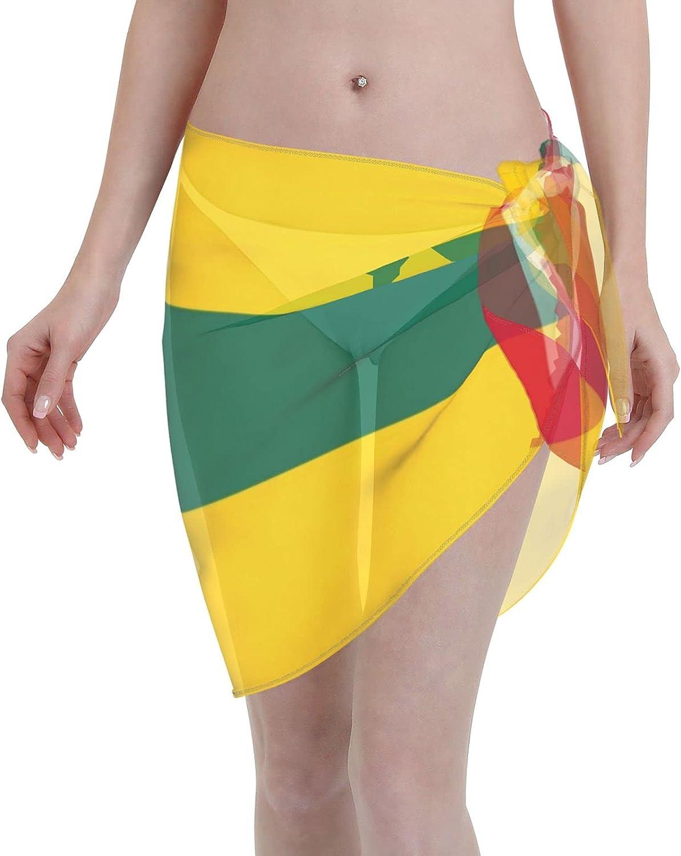 Togo Flag Women Short Sarongs Beach Wrap, Beach Cover-Ups High Waisted Wrap Skirt with Slit,Sexy Sheer Swimsuit Bikini Wraps Chiffon,Soft Scarf for Swimwear Black