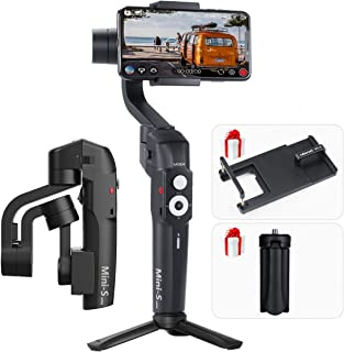 MOZA Mini-S Foldable Gimbal 3 Axis Smartphone Gimbal with ULANZI PT-6 Adapter Plate for Gopro,Quick Platback,One-Button Zoon,Timelapse,Objecti Tracking,Inception Mode Fucntion for Gopro iPhone Samsung