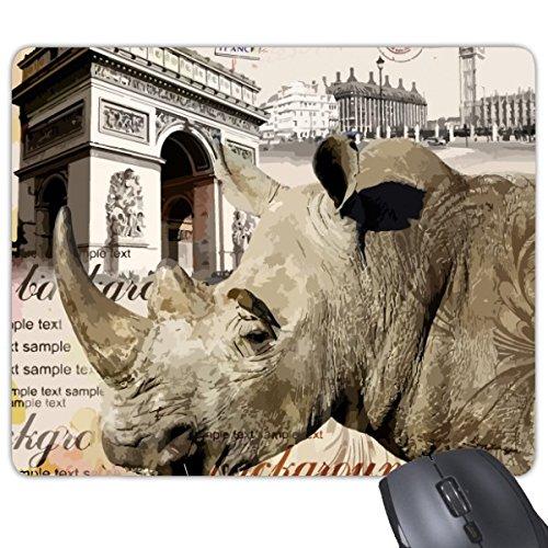 Europese stijl Arc de Triomphe Rhinoceros Bouwen Frans Parijs Illustratie Patroon Rechthoek Antislip Rubber Mousepad Game Mouse Pad Gift