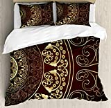 Ambesonne Mandala Duvet Cover Set, Vintage Cosmos Pattern with Swirled Floral Leaves Artwork, Decorative 3 Piece Bedding Set with 2 Pillow Shams, Queen Size, Burgundy Yellow
