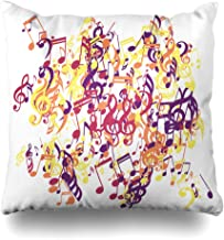 Ahawoso Throw Pillow Cover Square 20x20 Falk Musical Classic Note Symbols Modern Jazz Notes Bass Disco Music Guitar Abstract with Textures Zippered Cushion Case Decorative Pillowcase Home Decor