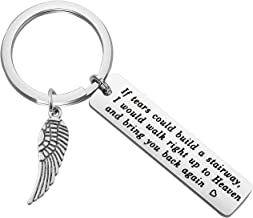 LQRI Memorial Gift If Tears Could Build A Stairway Memorial Keychain with Angel Wing Charm in Memory of Loved One Sympathy Gift