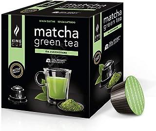 King Cup - 1 Paquet de 10 Capsules de Thé Matcha Sans Sucre, 10 Capsules 100% Compatible avec le Système Nescafè Dolce Gus...