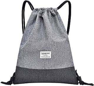 Wultia - Women Beach Bag Outdoor Fitness Sport Bag Bundle Pocket Unisex Drawstring Bag sac fe dos Femme Gray