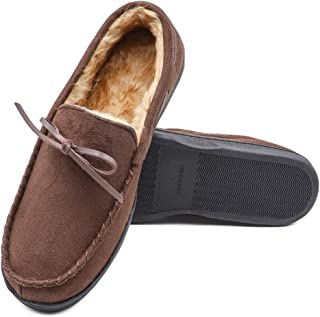Mwfus Men's Moccasin Slippers with Memory Foam House Shoes Suede Upper Indoor/Outdoor w/Anti-Skid Rubber Sole
