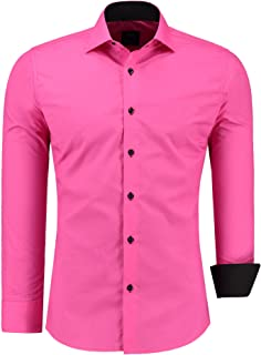 Jeel Men Long-Sleve - Casual Shirt Slim-Fit - for Business Suit Wedding Casual, Size S - 6XL