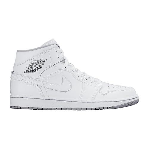 Nike Men s Air Jordan 1 Mid White White Wolf Grey Basketball Shoe - 10 37bd764a7