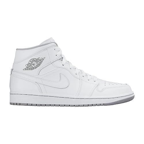 info for ec498 bbd57 Nike Men s Air Jordan 1 Mid White White Wolf Grey Basketball Shoe - 10