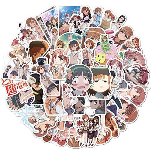Cerolopy 50 Stück/Set Misaka Mikoto Shirai Kuroko Anime Charakter Aufkleber für Laptops, Helm, Skateboard, Fahrrad, Gepäck, Computer, Handy, Motorrad, Fahrrad, Auto, DIY Aufkleber