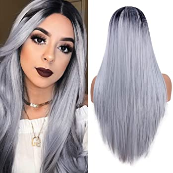 fani Long Straight Ombre Grey Wigs for Women Non-Lace Front Synthetic Full Wig Halloween Cosplay Costume Wigs Dark Ro...
