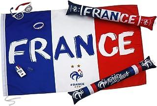 Kit du Supporter FFF - Drapeau Lunettes Maquillage sifflet - 2 étoiles - Collection Officielle Equipe de France de Football -