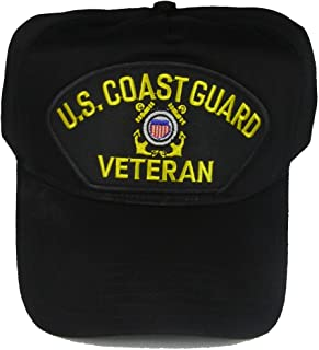 U.S. COAST GUARD Veteran Hat with USCG Crest Cap - BLACK - Veteran Owned Business