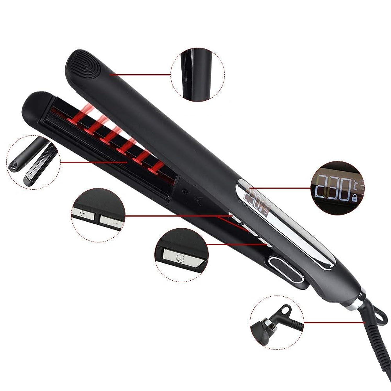 ジョブ麻酔薬頻繁に赤外線ストレートヘアアイロンセラミック電気スプリント、2ストレートヘアアイロン、カーリングアイロン モデリングツール (色 : 黒)