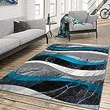 TT Home Alfombra Salón Shaggy Pelo Corto Moderno Diseño Hormigón Abstracto Chic Ondulado, Farbe:Turquesa, Größe:60x100 cm