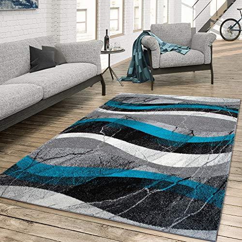 Tapis de Salon Moderne Poils Ras Shabby Chic Design Béton Abstrait Ondulé, Couleur:Turquoise, Dimension:160x230 cm