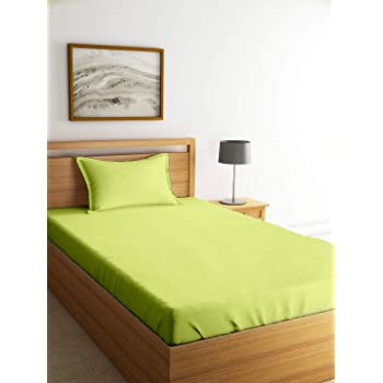 Cloth Fusion Breeza Solid 144 TC Cotton Single Bedsheet with 1 Pillow Cover- (Lime Green, 60x88 Inches )