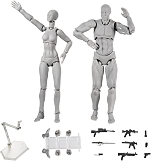 ALEXTREME Art Mannequin Set,Action Figure,2 Pcs/Set Light Body PVC Movebale Action Figure Model for SHF Version 2.0 Gifts (01, Grey)