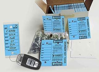 Donkey Key Tags, Laminated Self-Protecting (250 Tags per Box with Metal Rings) (Blue)