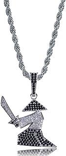 Gioielli Moca Ghiacciati personalità Samurai Spada Pendente di Moda Collana placcata Oro 18k con Diamante simulato CZ per ...