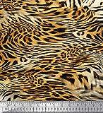 Soimoi Orange Satin Seide Stoff Leopard & Tiger Tierhaut