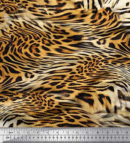 Soimoi Naranja gasa de viscosa Tela leopardo y tigre piel de animal estampada de tela por metro 42 Pulgadas de ancho