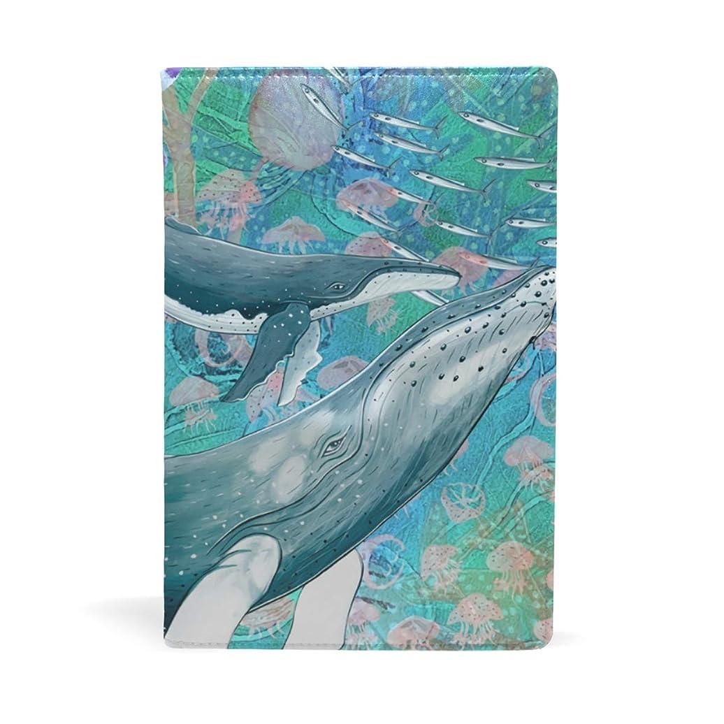 問い合わせるごみ静的鯨 クジラ 柄 ブックカバー 文庫 a5 皮革 おしゃれ 文庫本カバー 資料 収納入れ オフィス用品 読書 雑貨 プレゼント耐久性に優れ