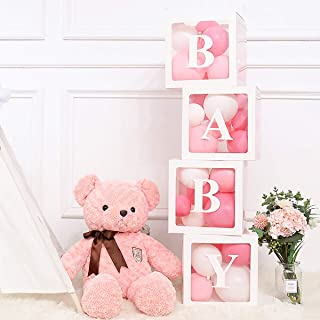 Baby Shower Balloon Boxes Party Decorations For Boy Girl. 4 Piece Transparent Balloon Blocks With Individual Letters BABY. Designed for Baby Shower Bridal Shower First Birthday Party Favor Gender Reveal Backdrop Home Decor