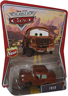 """Fred Disney Pixar Cars Mattel World of Cars Background Card With """"New"""" Sign Symbol On Left Side of Background Card"""