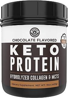 Keto Collagen Protein Powder Chocolate - 10g Grass-Fed Collagen, 5g MCT Powder| 1lb, 25 Servings, No Carb Protein Powder, ...