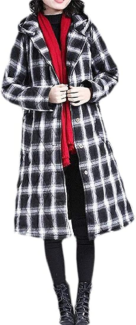 Womens Overcoat Plaid Loose Fit Winter Hooded Thicken Quilted Jacket Coat Outerwear