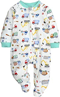 Baby Boys Girls Cotton Footed Zipper Romper Infant Long Sleeve Pajamas Sleep and Play