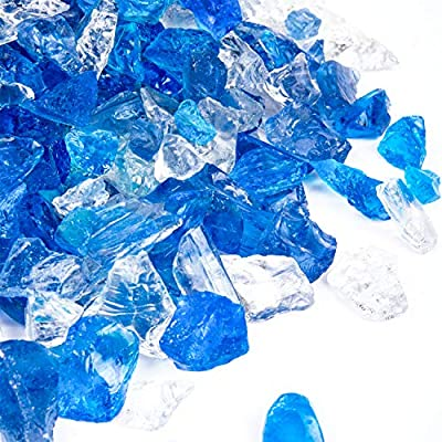 X Home 10LB Fire Pit Glass, 1/2 Inch Bahama Blend Blue Fire Glass for Propane Fire Pit, Gas Fireplace, Fire Table, Indoor & Outdoor