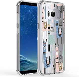 Ftonglogy Galaxy S8 Case, Cute Pink Llama Cactus Design for Girls with Clear Bumper Shockproof Flexible Silicone Protective Cases for Samsung Galaxy S8 (Cactus)