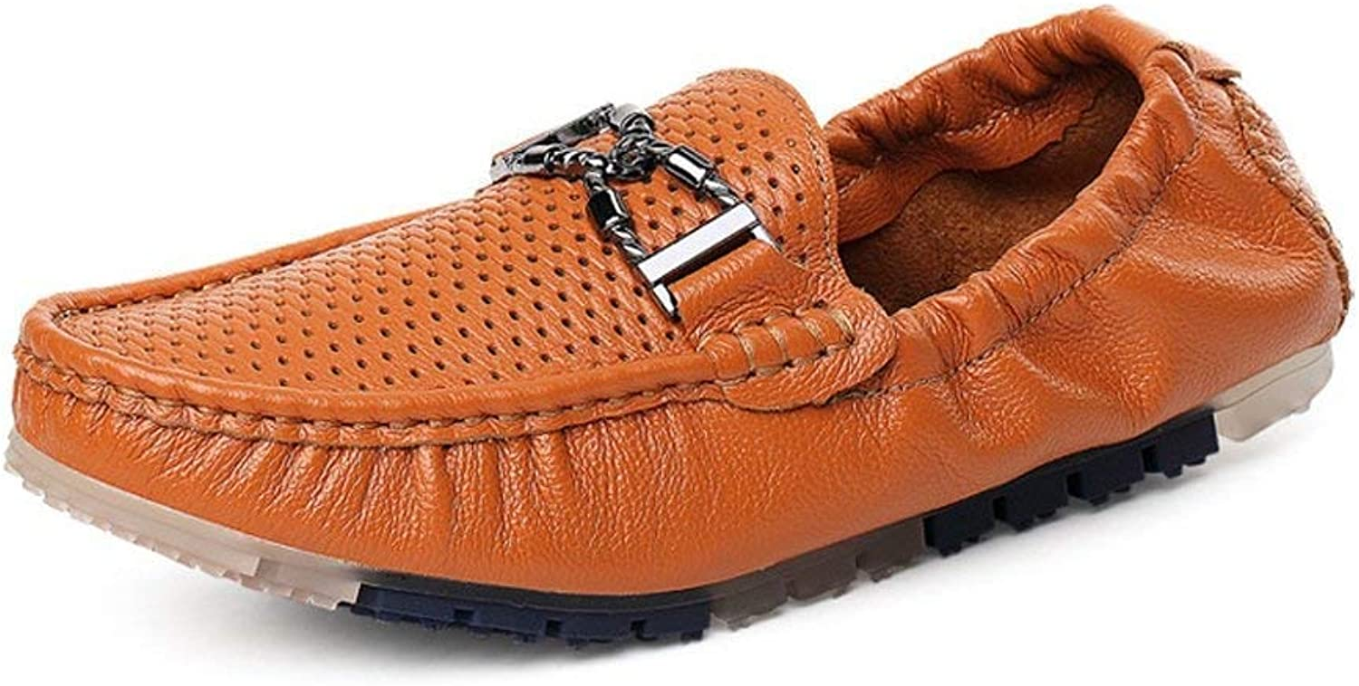 Men's Moccasins shoes, Men Driving Penny Loafers Hollow Upper Boat Moccasins with Metal Decor & Rear Elastic (color  White, Size  43 EU) (color   Brown, Size   42 EU)