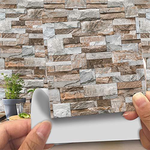 Hiser 20 Piezas Adhesivos Decorativos para Azulejos Pegatinas para Baldosas del Baño/Cocina Imitación de Cuero imitación Piedra 3D Estilo ladrillo Resistente al Agua Pegatina de Pared (LA020,15cm)