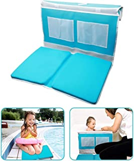 Bath Kneeler and Elbow Rest Safety Bath Kneeling Pad for Baby Bath Time - Comfy, Thick, Large Cushioned Mat Waterproof Bathtub Padding with Toy Organizer Anti-Skid and Detachable Design - Blue