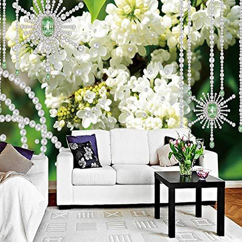 Moderne minimalistische witte Lila Parel 3D Stereo Sieraden Muur Grote Muur, Behang 280 cm (B) x 180 cm (H) (9'2 ''x5'11'') ft