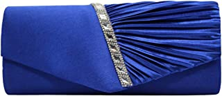 Wiwsi Graceful Women Pleated Chain Diamante Crystal Ladies Evening Bag Clutches