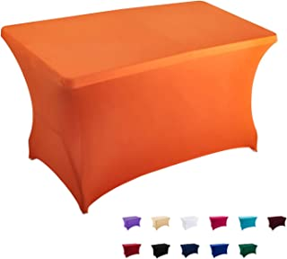 FELIZEST Spandex Table Covers, 6 ft/4 ft Spandex Table Cloth, Rectangular Stretch Table Cover for Folding Table (4ft, Orange)