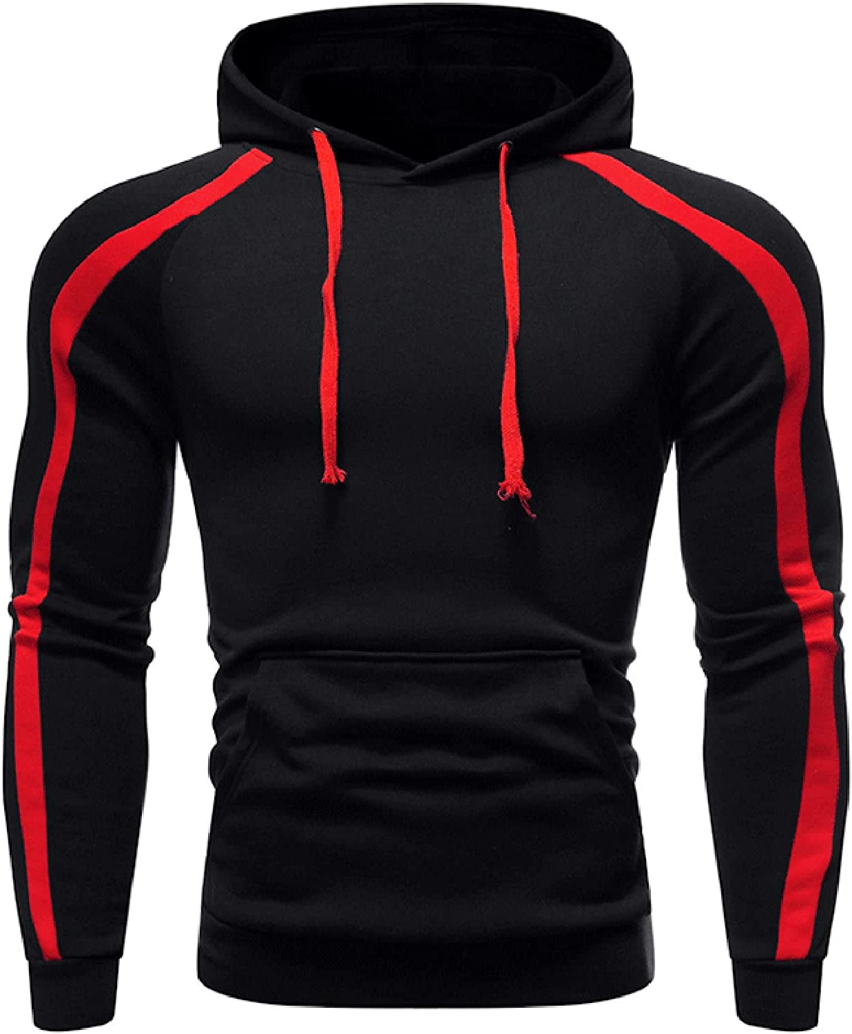 XXBR Hoodies for Mens, Fall Striped Patchwork Drawstring Hooded Sweatshirts Slim Fit Athletic Sports Casual Pullover