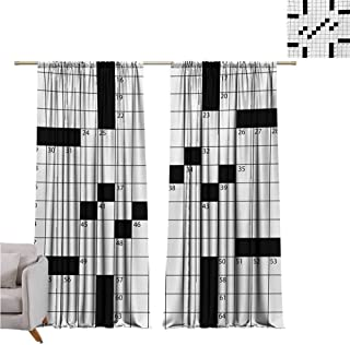 Andrea Sam Eclipse Curtains Word Search Puzzle,Blank Newspaper Style Crossword Puzzle with Numbers in Word Grid,Black and White W84 x L84 inch,Bedroom Blackout Curtains