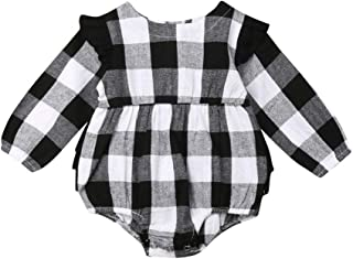 Newborn Baby Girl Christmas Clothes Plaid Ruffle Long-Sleeve Romper Bodysuit Fall Outfits